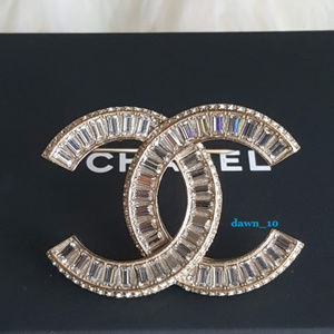 Chanel Large Baguette Crystal Brooch, Light Gold